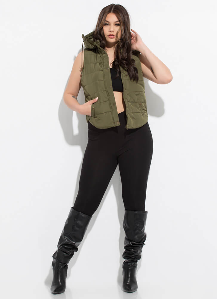 Camping Or Clubbing Hooded Puffy Vest OLIVE