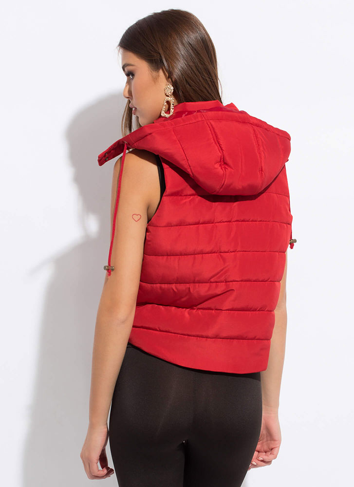 Camping Or Clubbing Hooded Puffy Vest RED