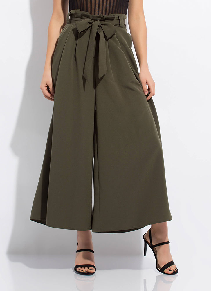 Big Leap Tied Super Wide Palazzo Pants OLIVE