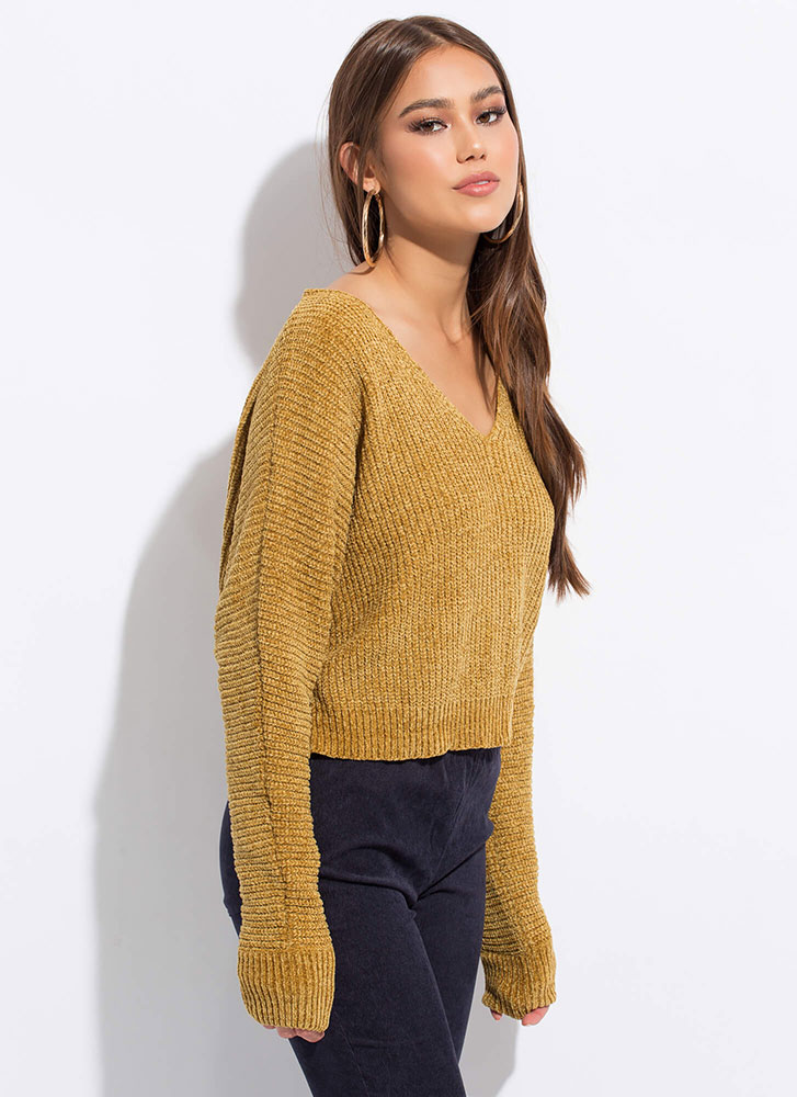 Weather Or Not Boxy Soft-Knit Sweater MUSTARD
