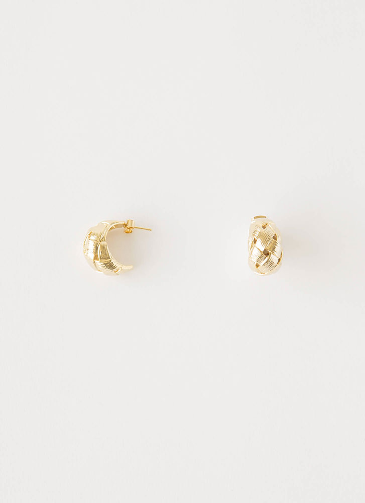 Toot My Own Horn Basket Weave Earrings GOLD