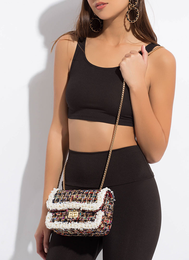 Lady About Town Faux Pearl Tweed Purse BLACK