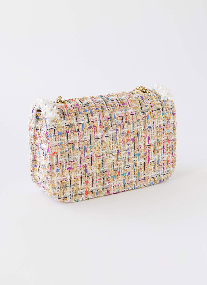 Lady About Town Faux Pearl Tweed Purse WHITE