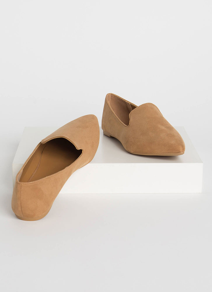 Sophistication Pointy Smoking Flats CAMEL
