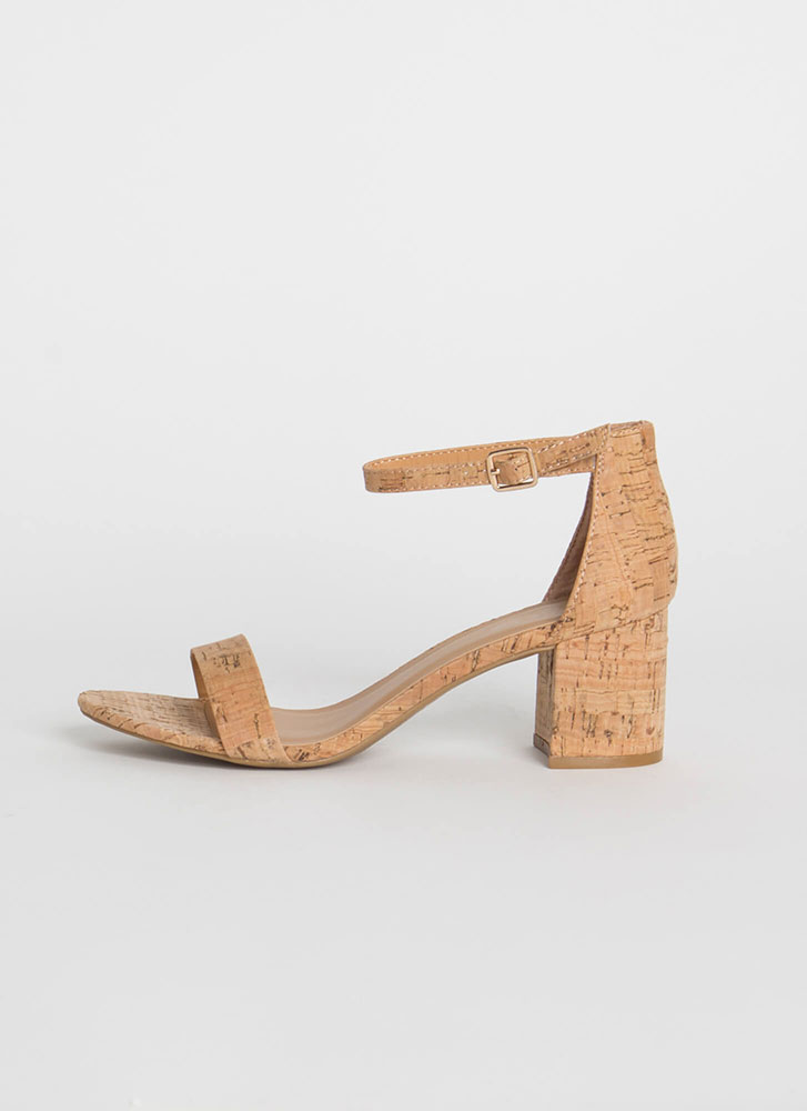 Cork It Chunky Ankle Strap Block Heels NATURAL