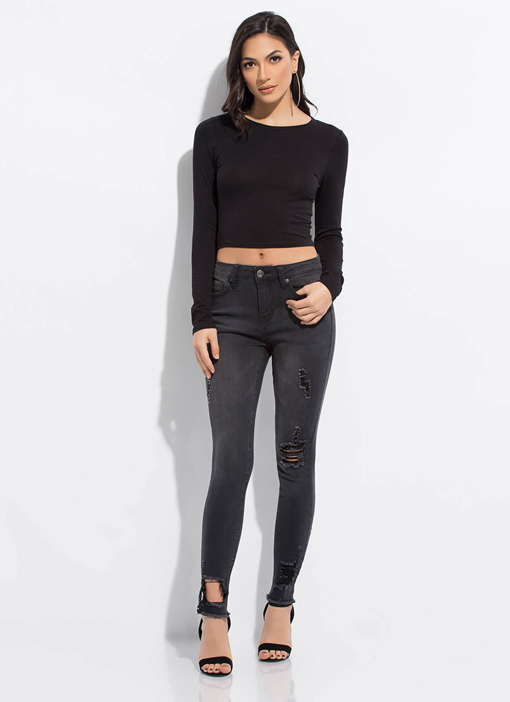 Every Color Basic Long-Sleeved Crop Top BLACK