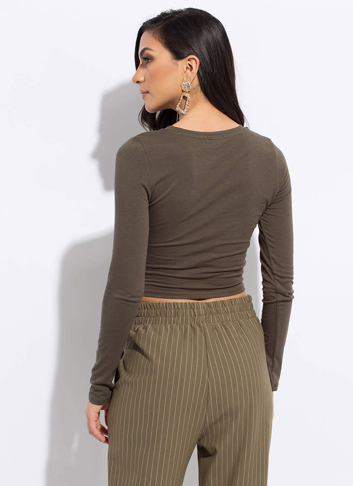 Every Color Basic Long-Sleeved Crop Top OLIVE