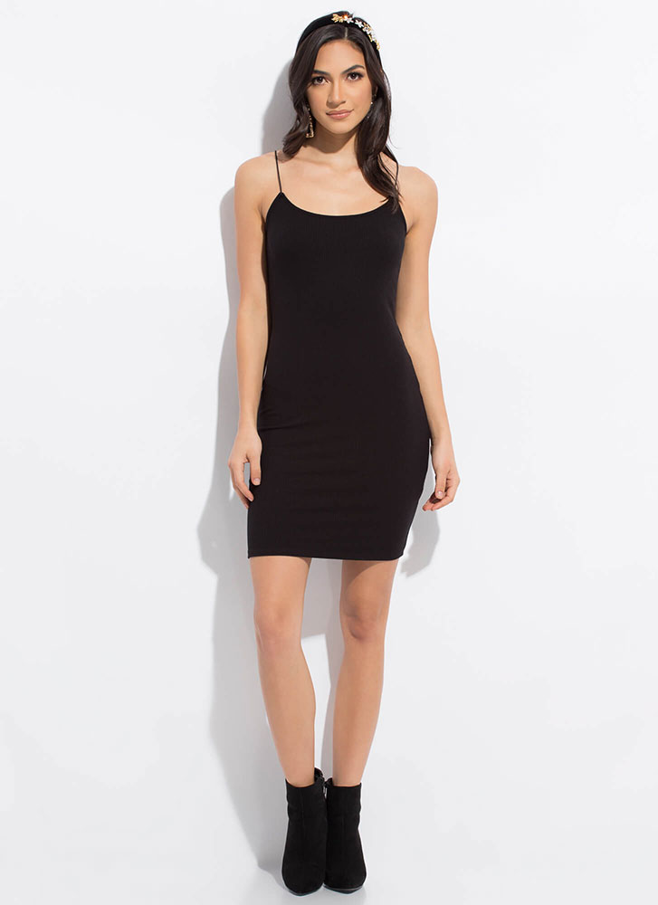 One In Every Color Basic Rib Knit Dress BLACK