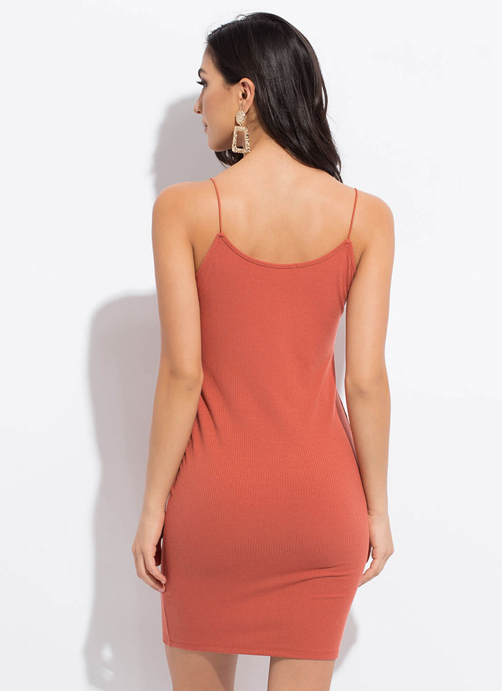 One In Every Color Basic Rib Knit Dress TERRACOTTA