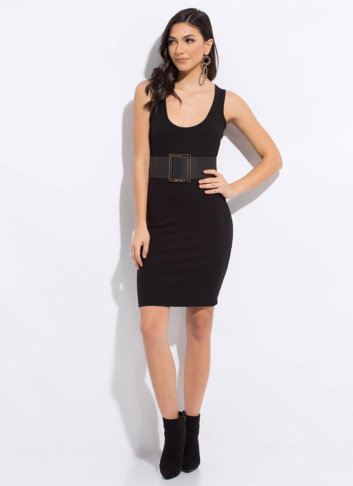 Just Go With It Basic Ribbed Midi Dress BLACK