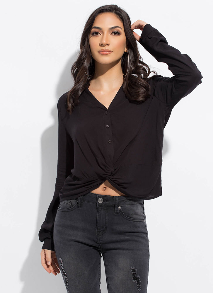Easy Breezy Draped Hem Tunic Blouse BLACK