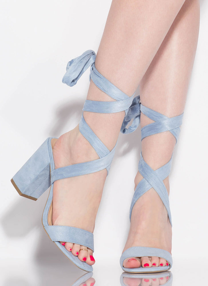 To Tie For Lace-Up Chunky Heels LTBLUE