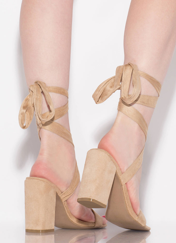 To Tie For Lace-Up Chunky Heels NATURAL