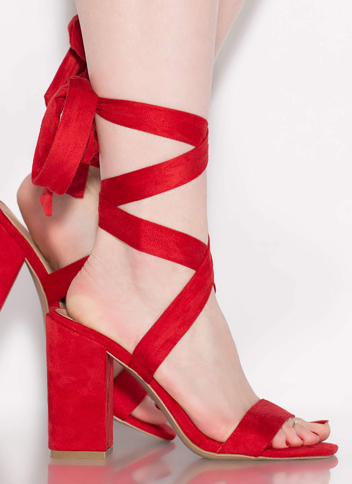 To Tie For Lace-Up Chunky Heels RED