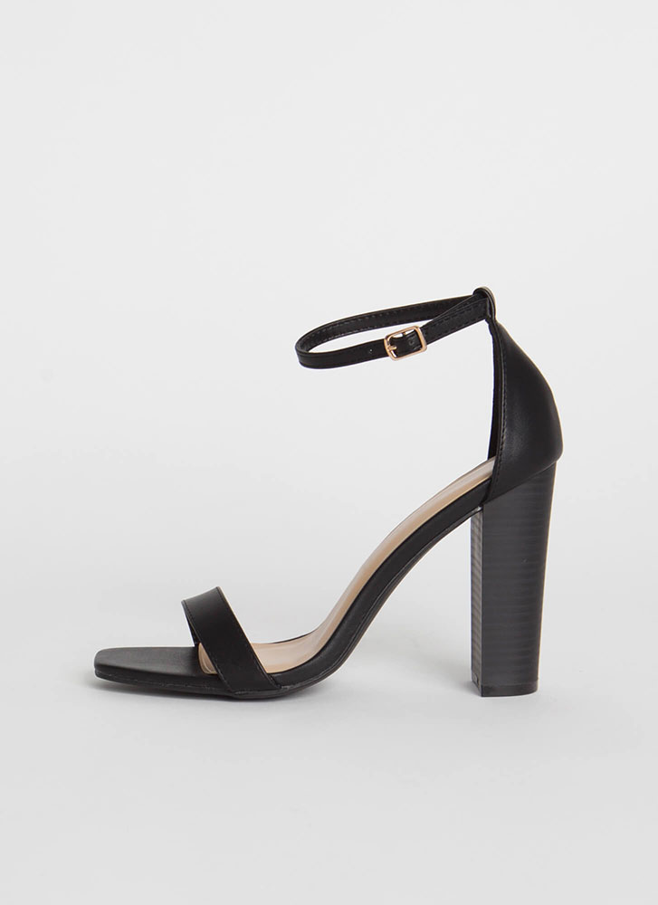 Go For It Chunky Ankle Strap Heels BLACK