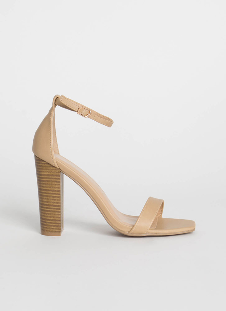 Go For It Chunky Ankle Strap Heels TAUPE