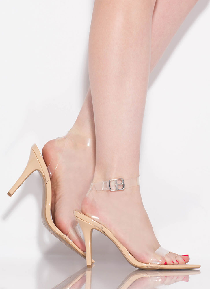 Pedi On Display Clear Strap Heels NATURAL