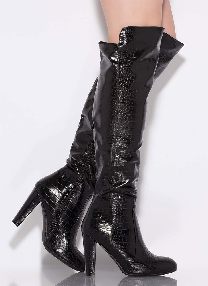 The Crocodile Huntress Thigh-High Boots BLACK
