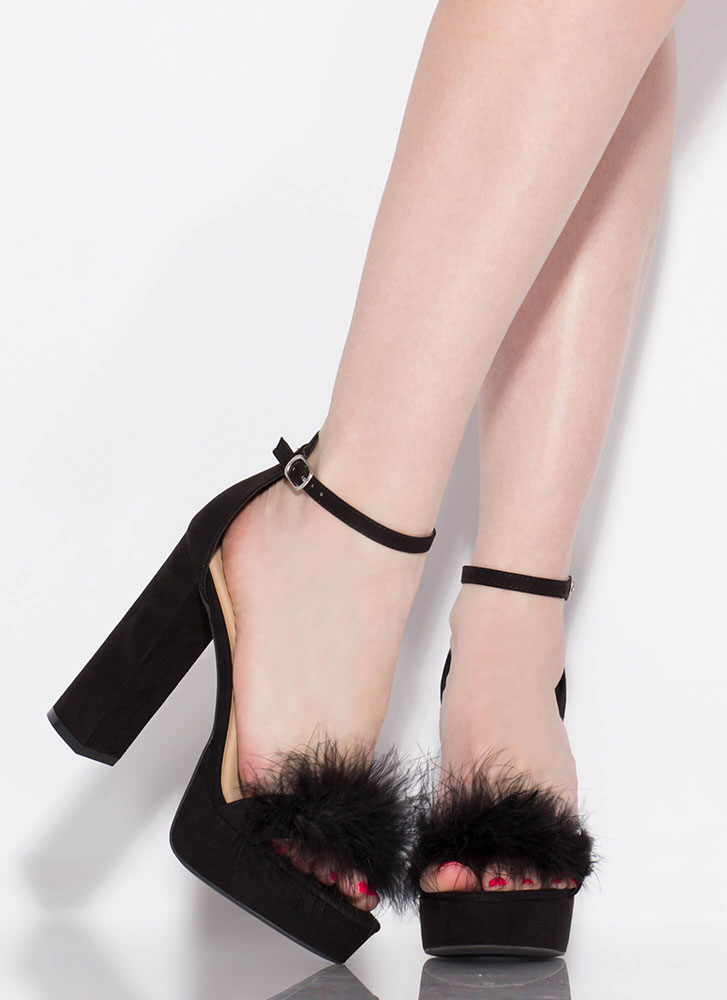 Furs And Feathers Chunky Platform Heels BLACK
