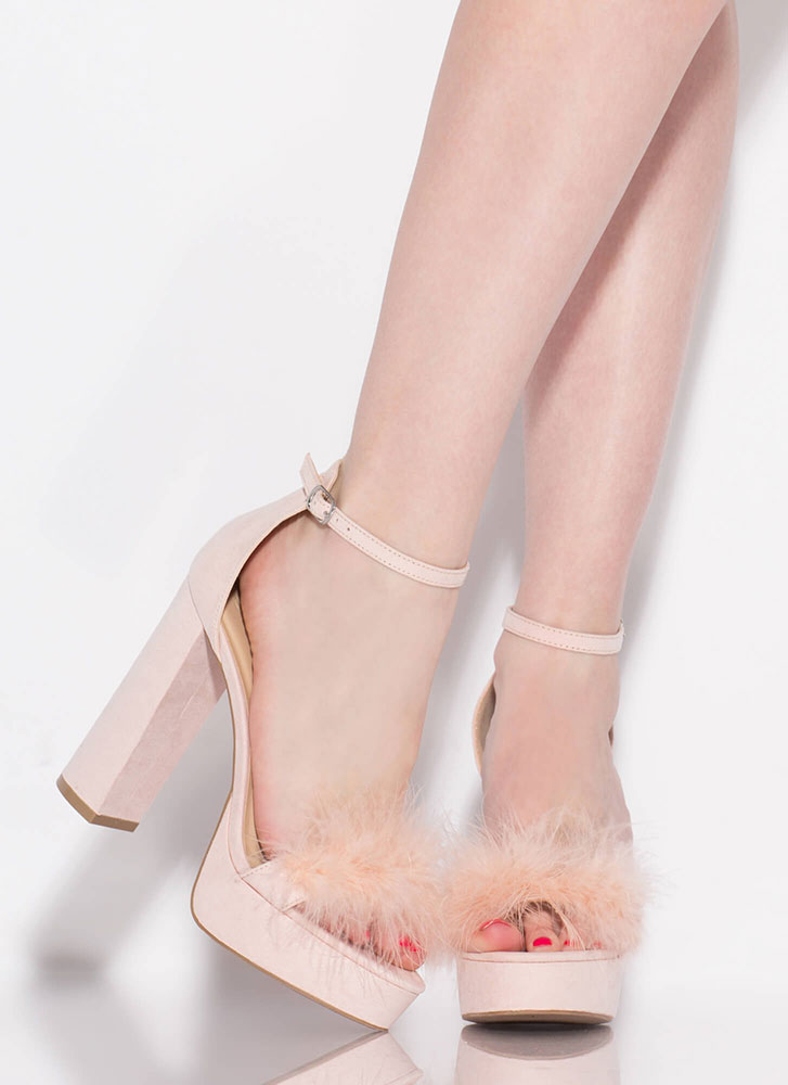 Furs And Feathers Chunky Platform Heels NUDE