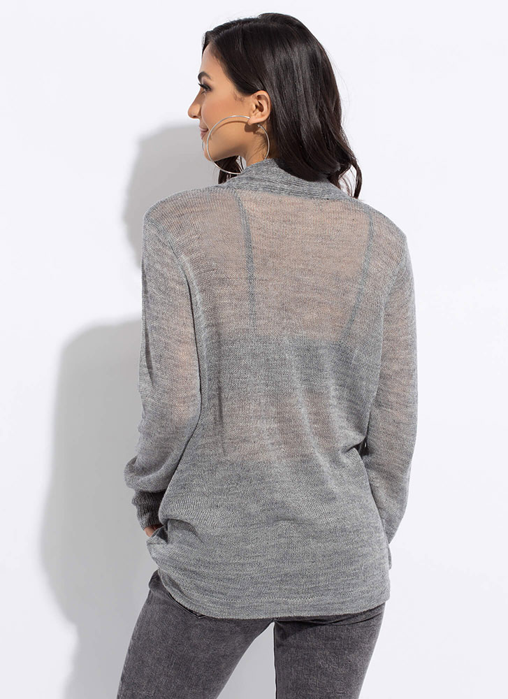 Front And Center Knit Surplice Top GREY