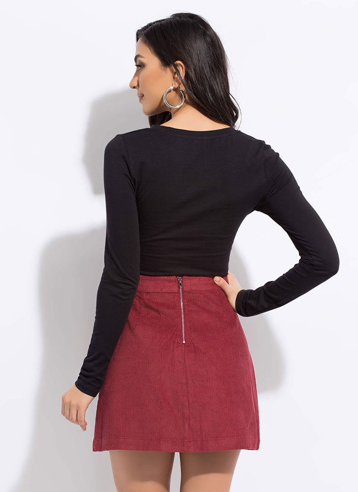 Pleated And Pocketed Corduroy Miniskirt WINE