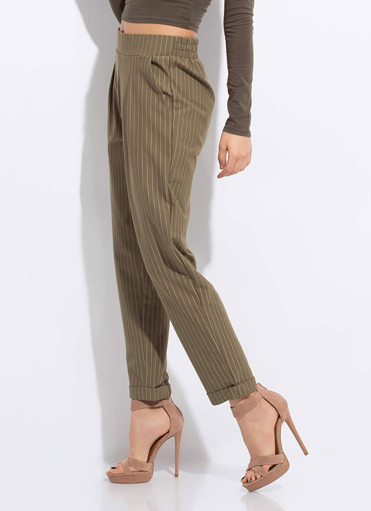 Pinstriped Perfection Pleated Trousers OLIVE