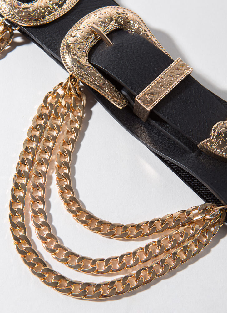 Go West Buckled Chained Stretchy Belt GOLD