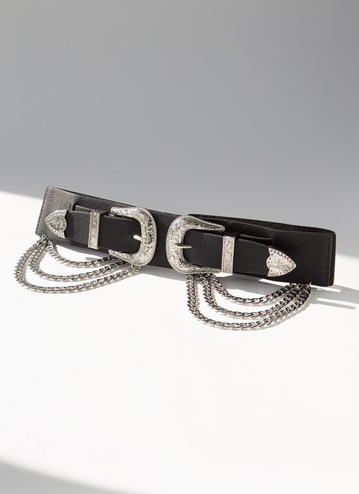 Go West Buckled Chained Stretchy Belt SILVER