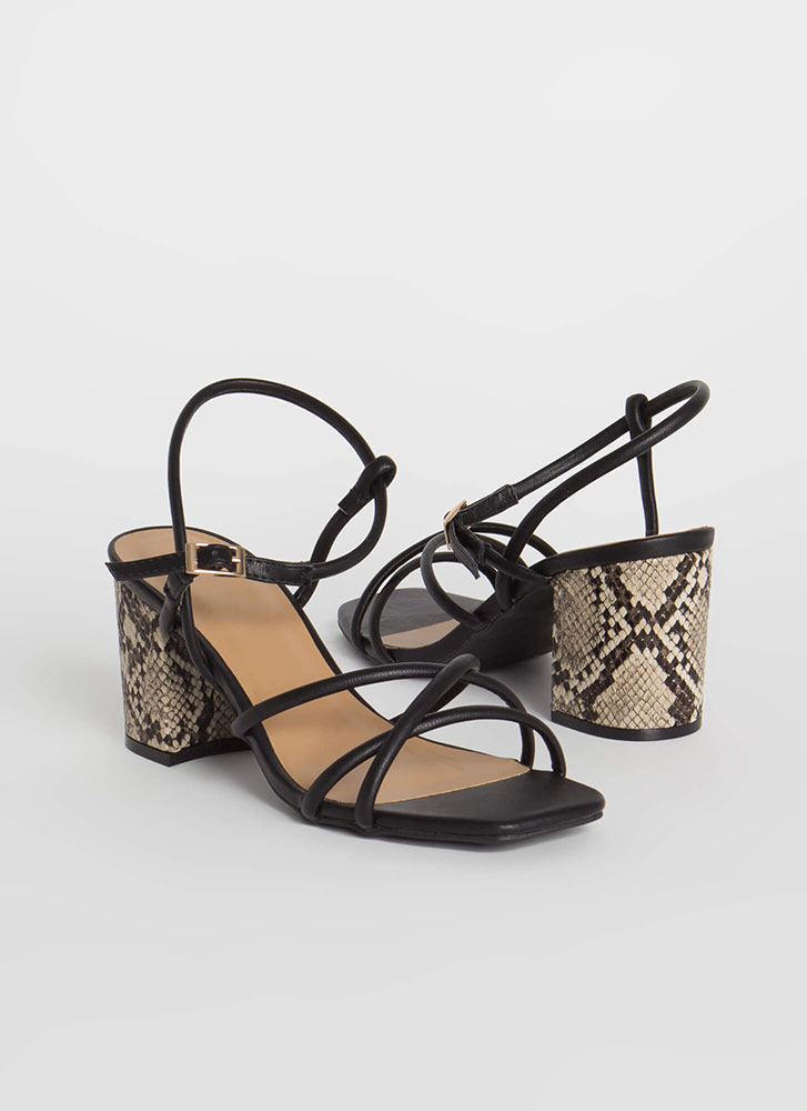 Back To Snake Strappy Block Heels BLACK