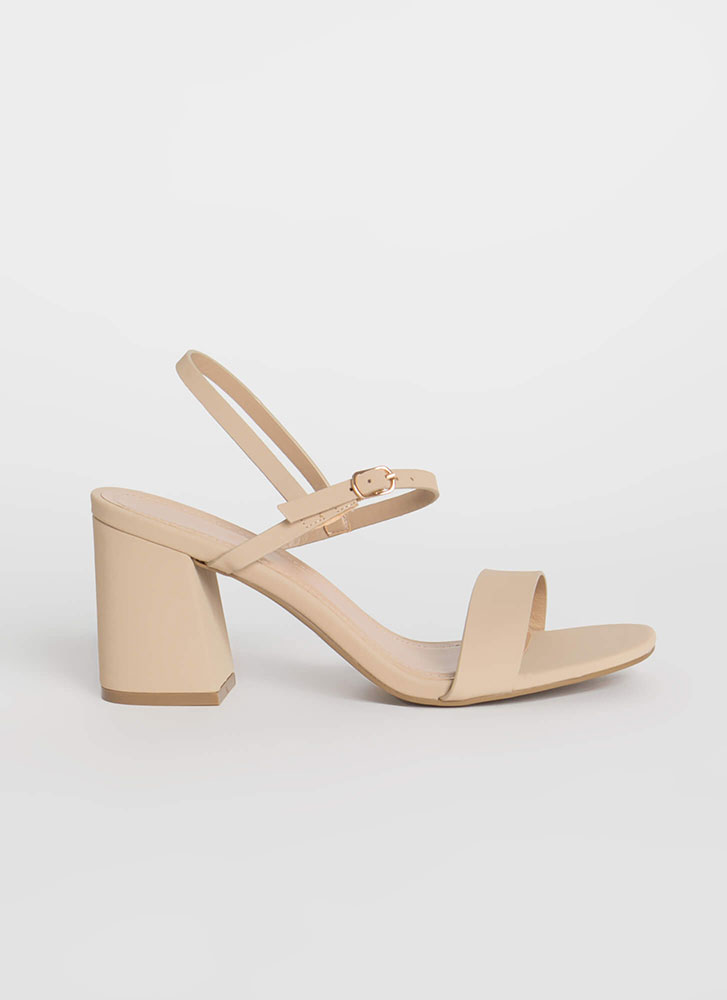 Go Chunky Strappy Faux Nubuck Heels NUDE