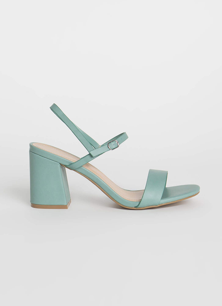 Go Chunky Strappy Faux Leather Heels SAGE
