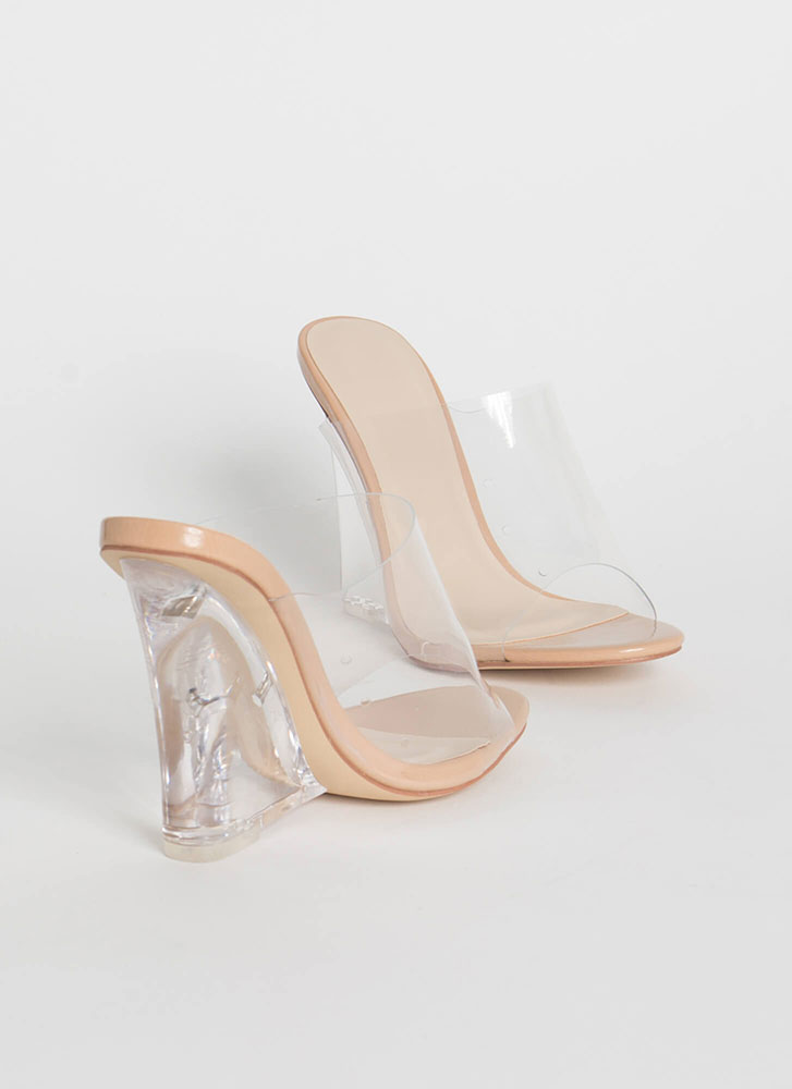 Clear Up Faux Patent Lucite Wedges NUDE