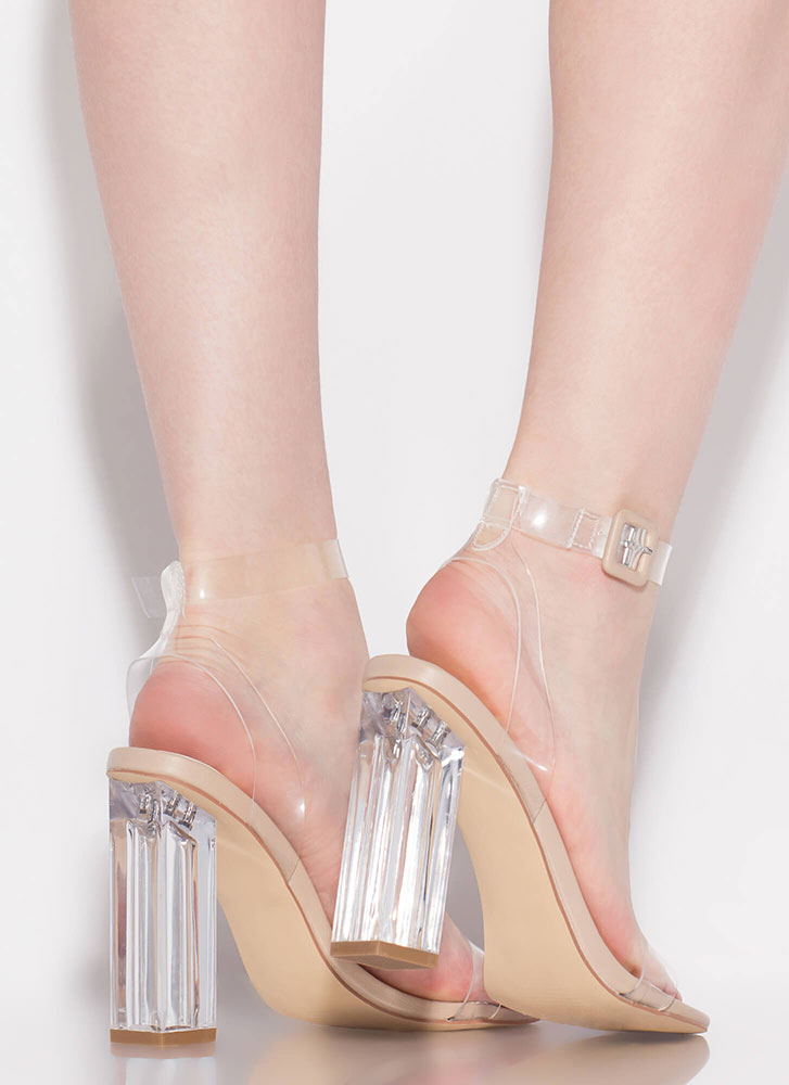 Clear Illusion Chunky Lucite Heels NUDE