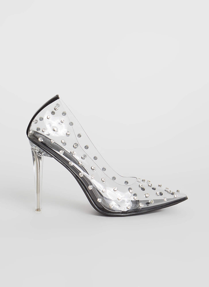 Twinkle Toes Pointy Clear PVC Pumps BLACK