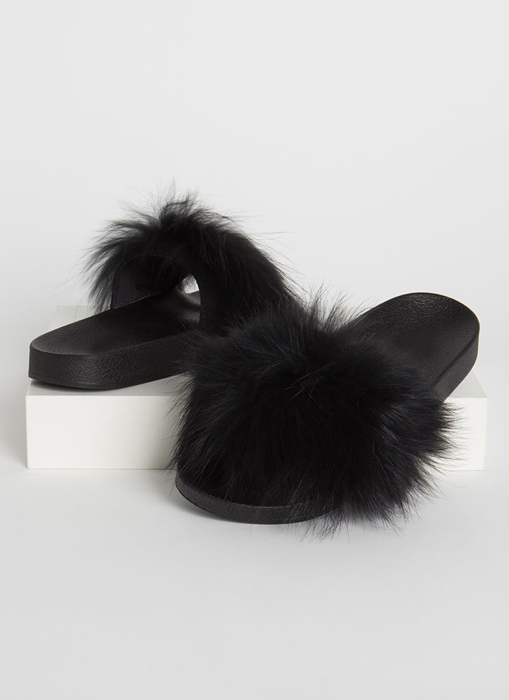 Shaggy Chic Faux Fur Slide Sandals BLACK