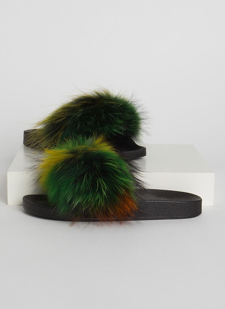Shaggy Chic Faux Fur Slide Sandals MULTI