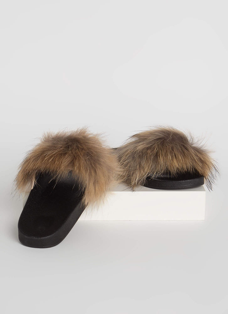 Shaggy Chic Faux Fur Slide Sandals TAN