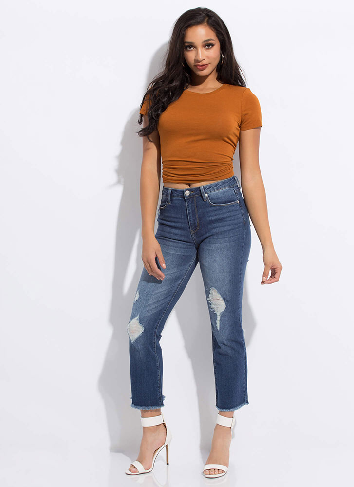 Take It Easy Distressed Boot-Cut Jeans DKBLUE