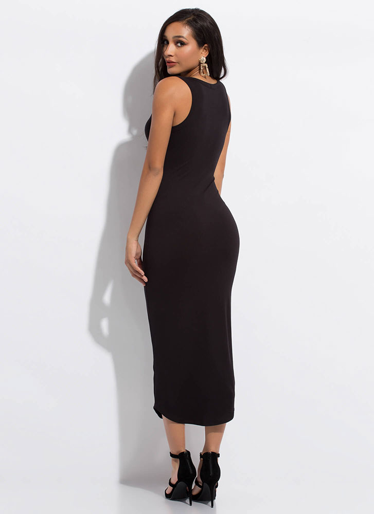 I'm Notch Your Girl Plunging Maxi Dress BLACK