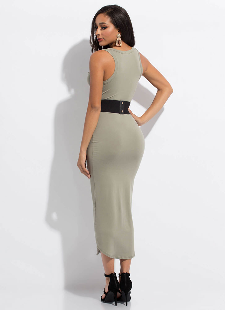 I'm Notch Your Girl Plunging Maxi Dress OLIVE