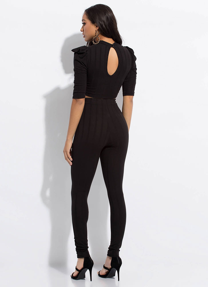 Puff Piece Ribbed Top And Pant Set BLACK