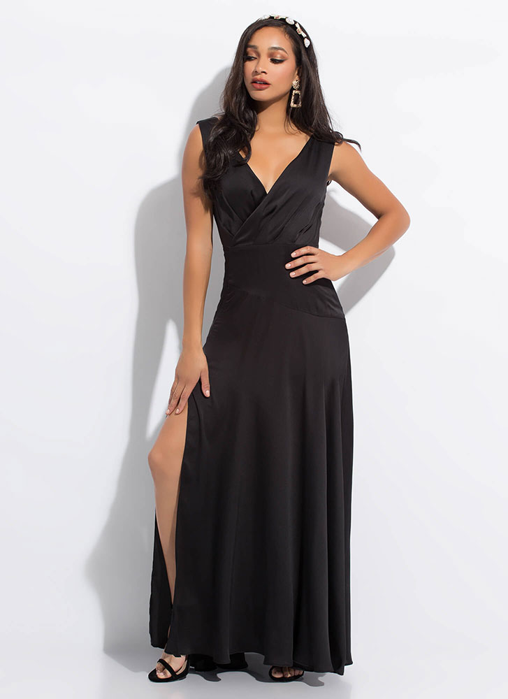 Keep The Dresses Flowing Silky Slit Gown BLACK