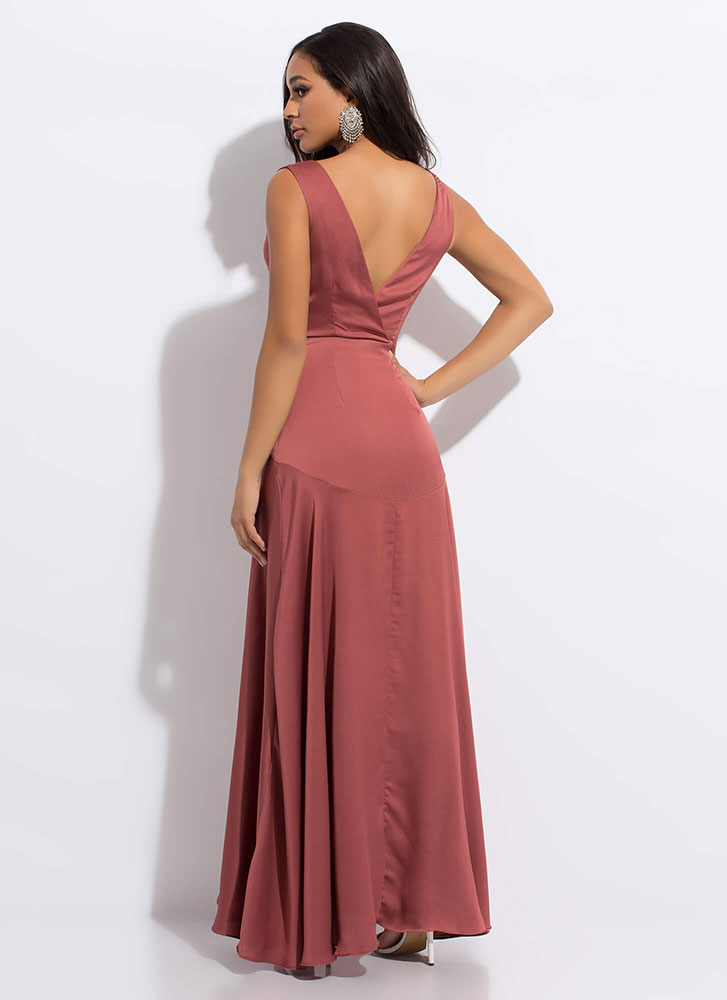 Keep The Dresses Flowing Silky Slit Gown MOCHA