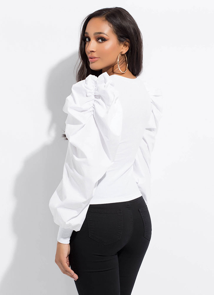 Drama Queen Pleated Puff Sleeve Top WHITE