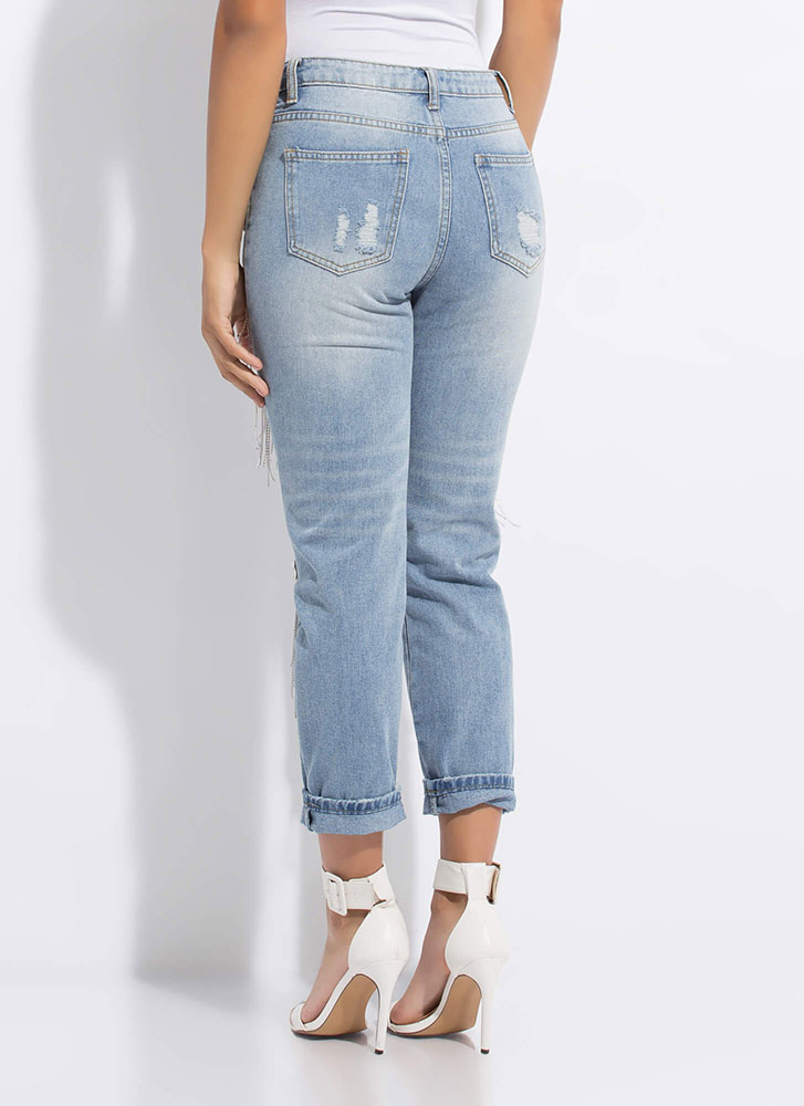 Jewels And Chains Distressed Jeans BLUE