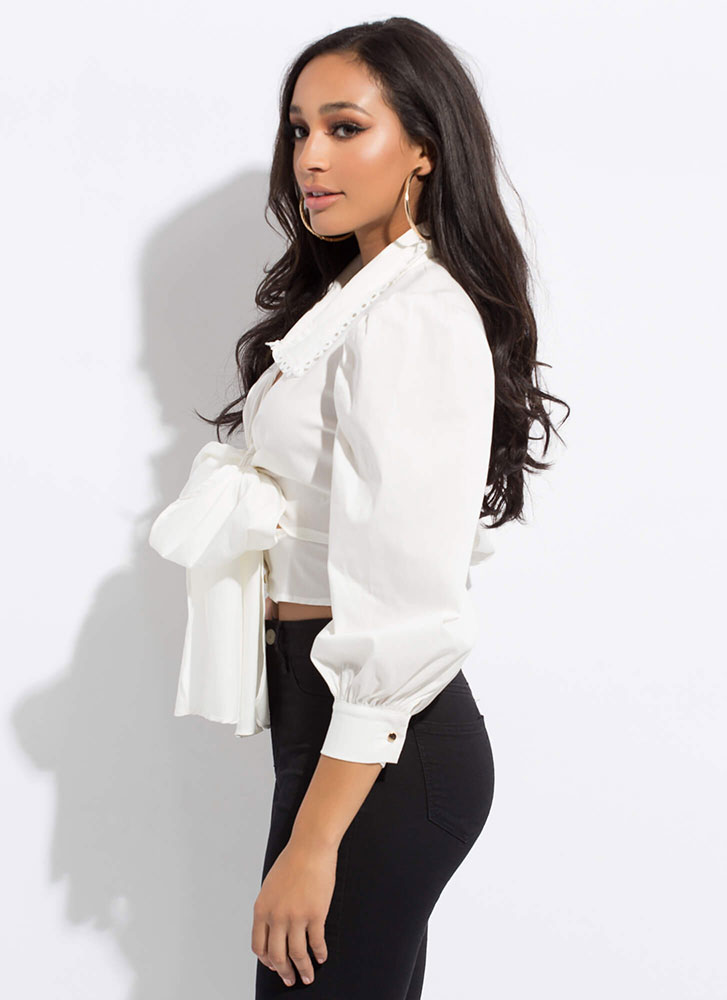 Bow-tiful Collared Cropped Tied Blouse WHITE