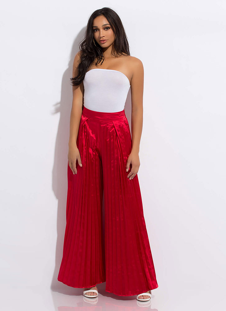 Just Say Pleats Super Wide Palazzo Pants RED