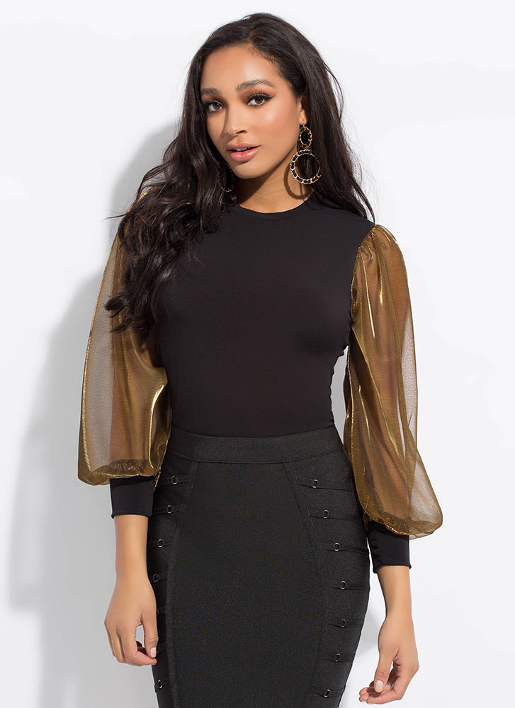 Strong Arm Metallic Puffy Sleeve Top BLACKGOLD