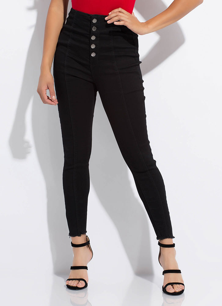 Cute As A Button-Fly High-Waisted Jeans BLACK